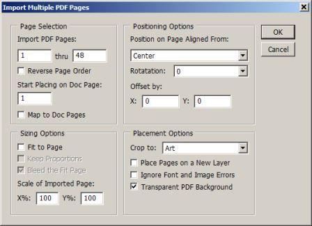 PDF в индизайн: скрипт MultiPageImporter